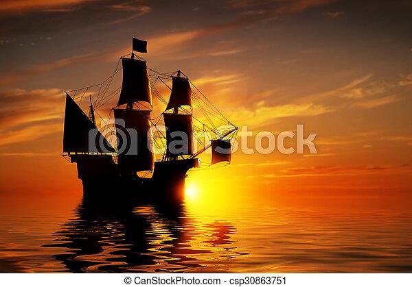 Un antiguo barco pirata en un océano pacífico al atardecer. - csp30863751
