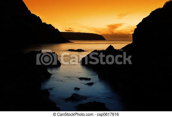 El pacífico atardecer del océano - csp0617616