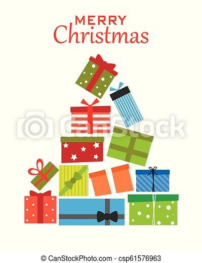 pacchetti, albero, regalo natale - csp61576963