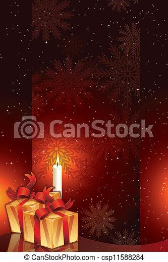pacchetti, candela, regalo, luce - csp11588284