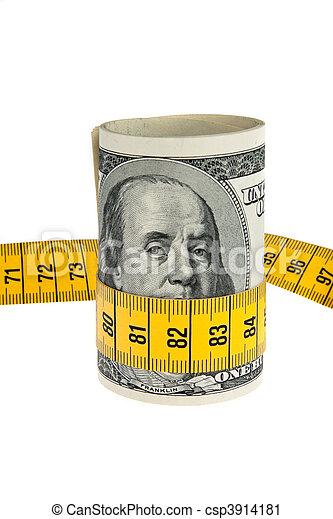pacchetto, simbolo, conto, dollaro, metro a nastro, economia - csp3914181