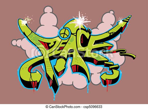 Pace Graffito Peace Colorato Tutto Testo Astratto Multi