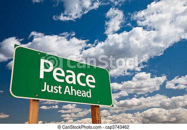 pace, verde, segno strada - csp3743462