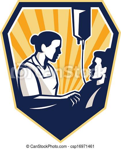 Paciente De Enfermera El Tender Enfermo Retro Intravenoso El