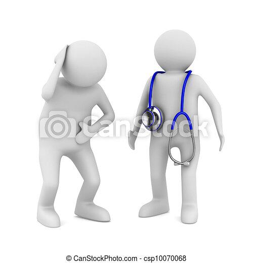 Doctor y paciente de fondo blanco. Imagen 3D aislada - csp10070068