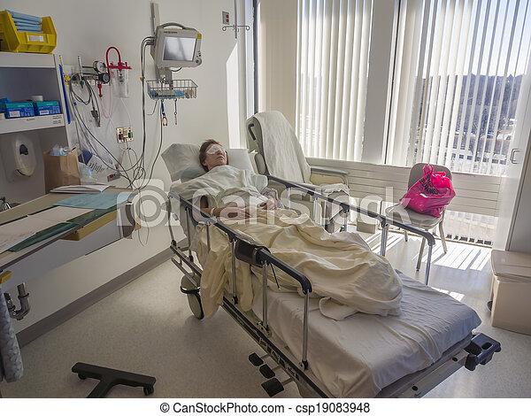 paciente, hospitalar, adormecido, cama - csp19083948