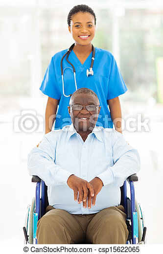 paciente, trabalhador, saúde, africano, cuidado velho - csp15622065