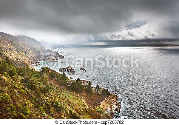 Pacific coast in Big Sur, California, US - csp7200782