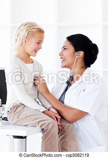 pacjent, jej, doktor, kontrola, radosny, zdrowie, samica - csp3082119