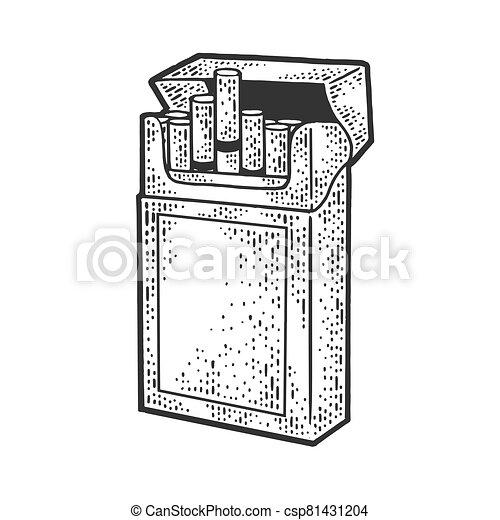 Pack of cigarettes sketch engraving vector illustration. T-shirt apparel print design. Scratch board imitation. Black and white hand drawn image. - csp81431204