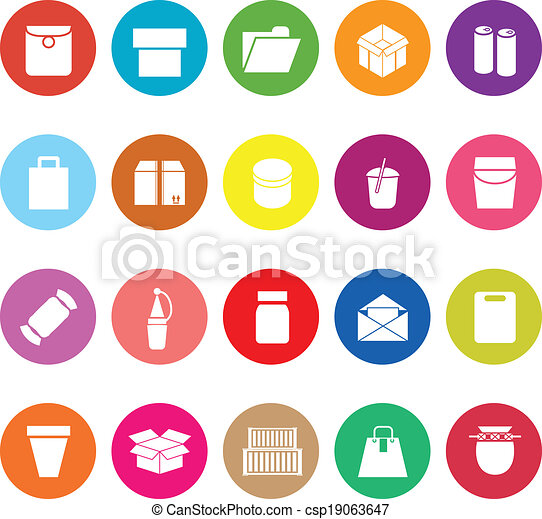 Package flat icons on white background - csp19063647