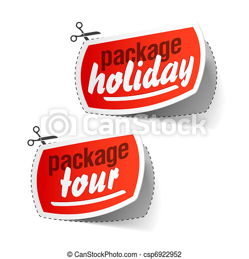 Package Holiday And Tour Labels Vector