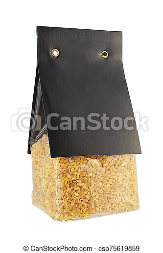 Package of bulgur wheat isolated on white - csp75619859