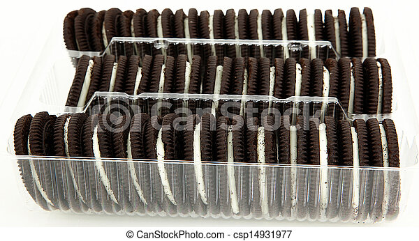 Package of Chocolate Cookies with Cream Filling - csp14931977
