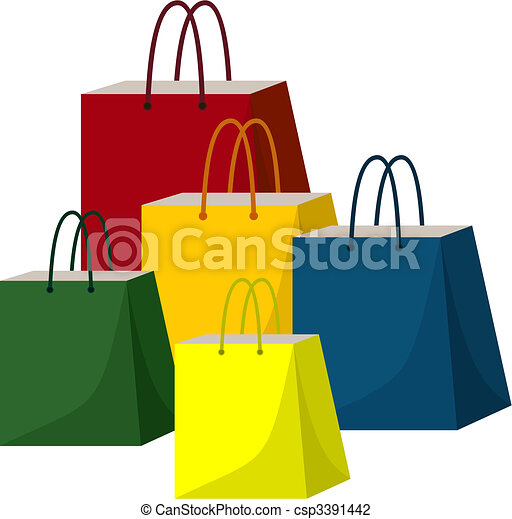 Packages for purchases of different colours on a white background - csp3391442
