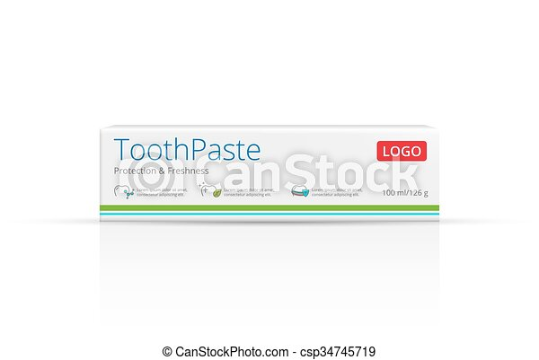 Packaging Design Toothpaste Vector Template Box Package Front View
