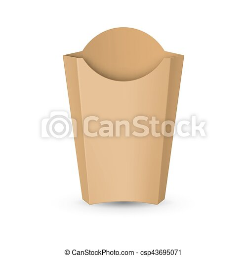 Empty Carton Packaging For French Fries Fast Food Icon For Design