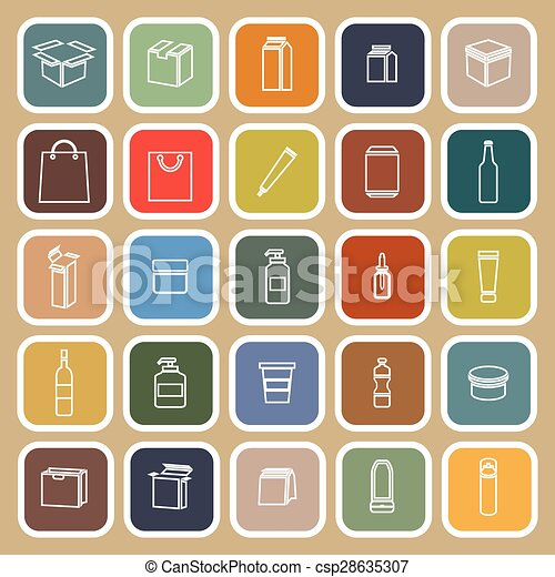 Packaging line flat icons on brown background - csp28635307