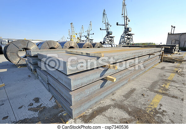 packed rolls and plate of steel sheet - csp7340536