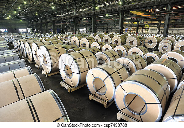 packed rolls of steel sheet  - csp7438788