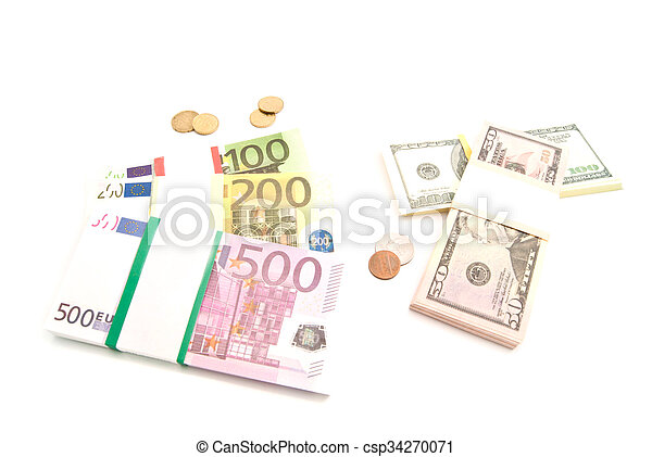 packs of euro and dollars banknotes and coins - csp34270071