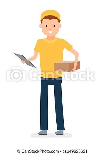 pacote, mensageiro, mão., isolado, contra, jovem, experiência., branca, homem - csp49625621