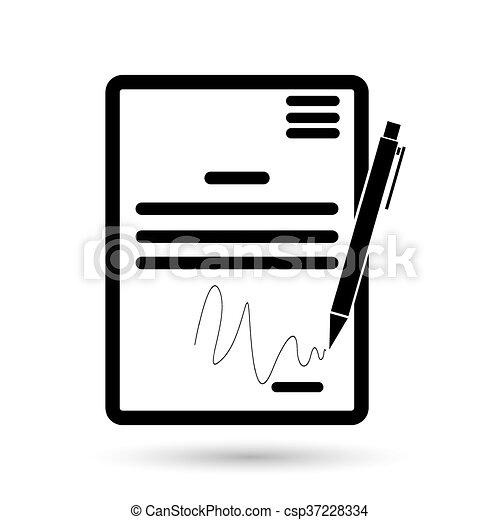 El icono del contrato. Acuerdo y firma, pacto, acuerdo, símbolo de la convención - csp37228334