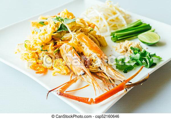 Pad thai noodles with jumbo prawn - csp52160646