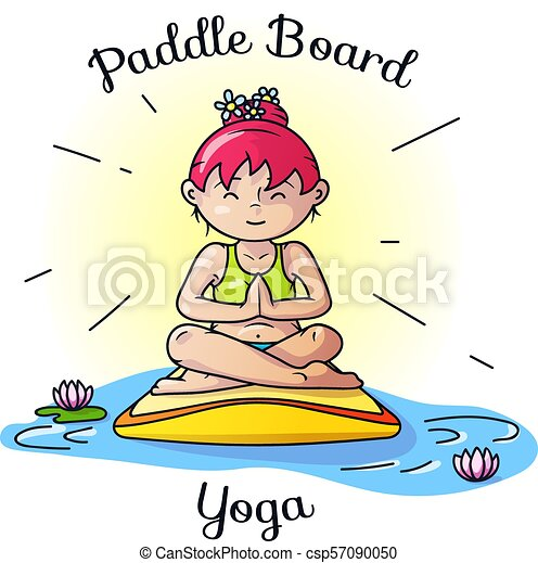 Paddle Board Yoga Meditation Vector Image