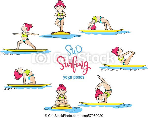 Paddle Board Yoga Poses Vector Set