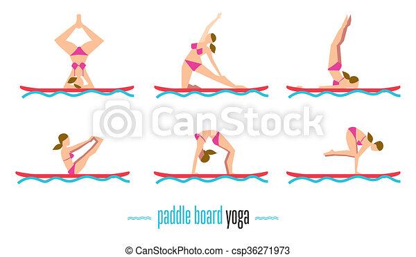 paddle board yoga set bitmap illustration paddle board