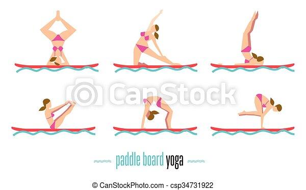 Paddle Board Yoga Set Vector Illustration