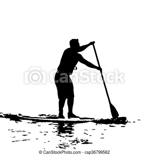 Paddle Boarder in Swansea Bay - csp36799562