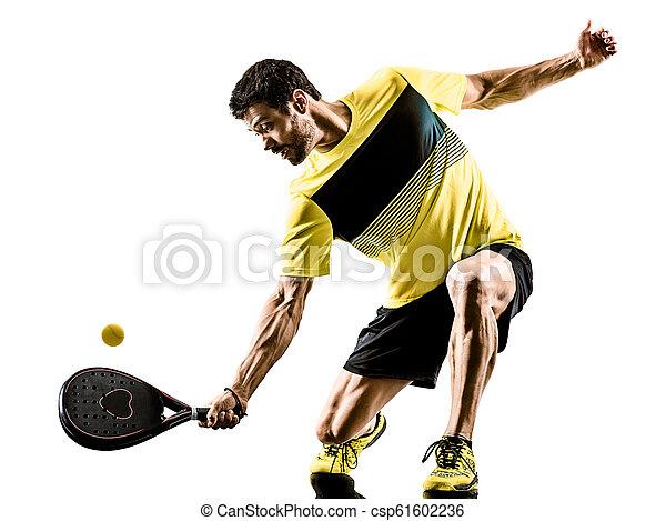 padel, tennis, freigestellt, spieler, hintergrund, weißes, mann - csp61602236