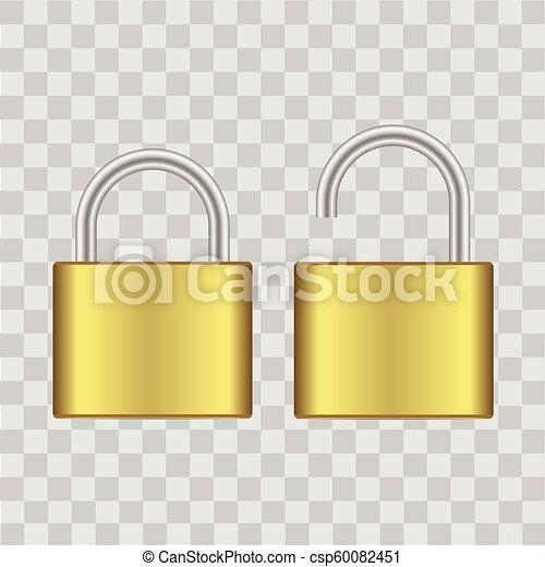 Realista cerrado y abierto candado de oro. Vector. - csp60082451