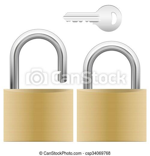 padlock and key - csp34069768