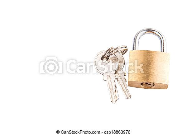 Padlock And Keys - csp18863976