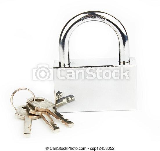 Padlock and keys - csp12453052