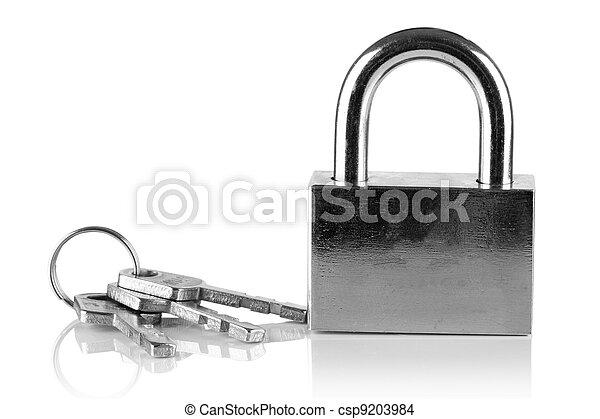 Padlock and keys. - csp9203984
