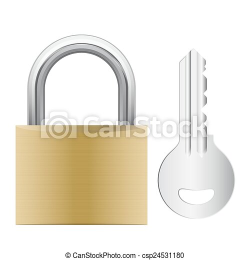 padlock attached with key - csp24531180