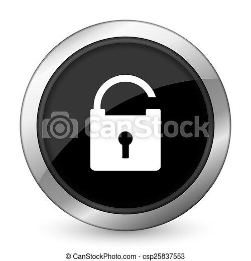 padlock black icon secure sign - csp25837553
