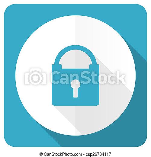 padlock blue flat icon secure sign - csp26784117