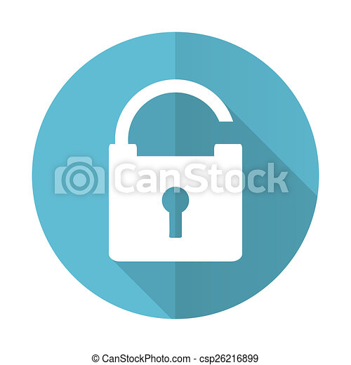 padlock blue flat icon secure sign - csp26216899