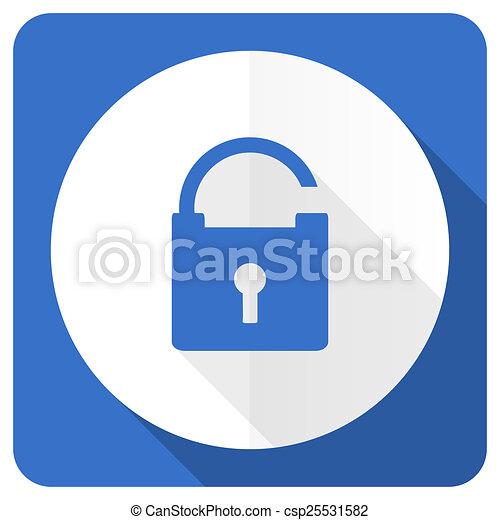 padlock blue flat icon secure sign - csp25531582