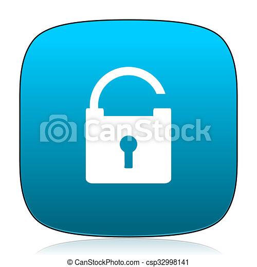 padlock blue icon - csp32998141