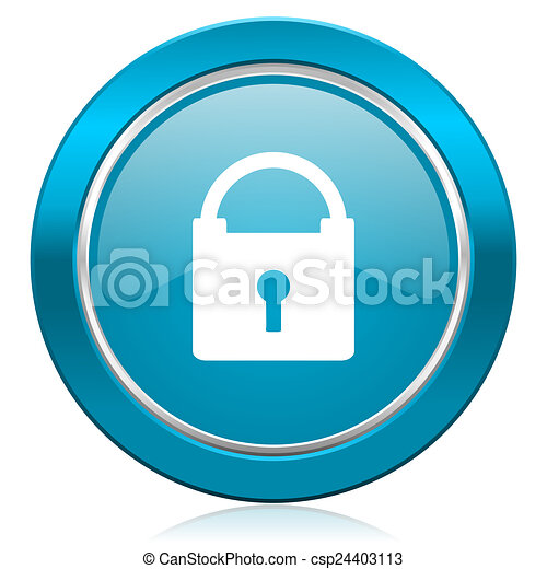 padlock blue icon secure sign - csp24403113