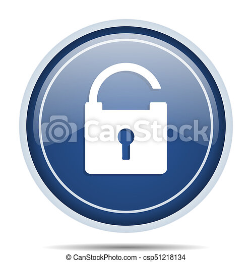 Padlock blue round web icon. Circle isolated internet button for webdesign and smartphone applications. - csp51218134