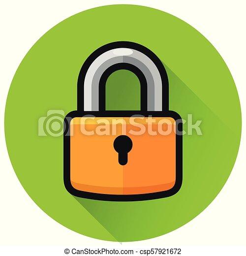 padlock circle green flat icon - csp57921672