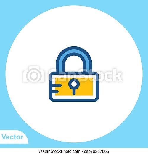 Padlock flat vector icon sign symbol - csp79287865