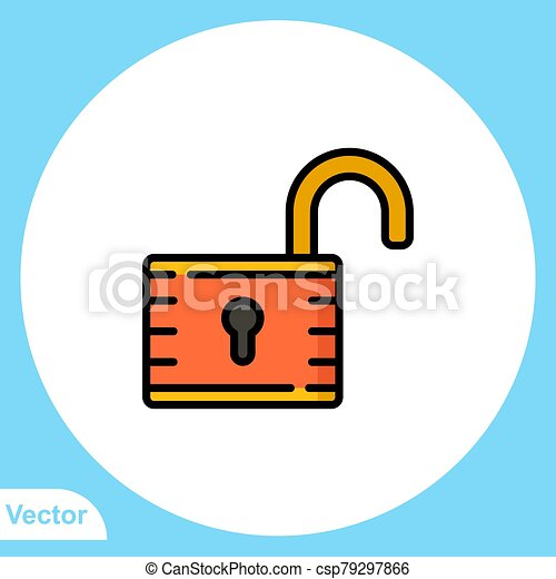 Padlock flat vector icon sign symbol - csp79297866